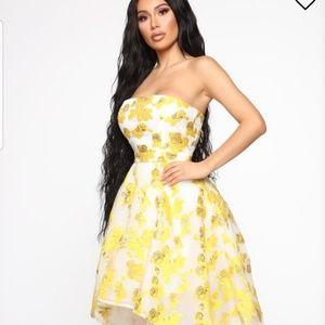 Fashion Nova Gold Flower Hi-Low Gown